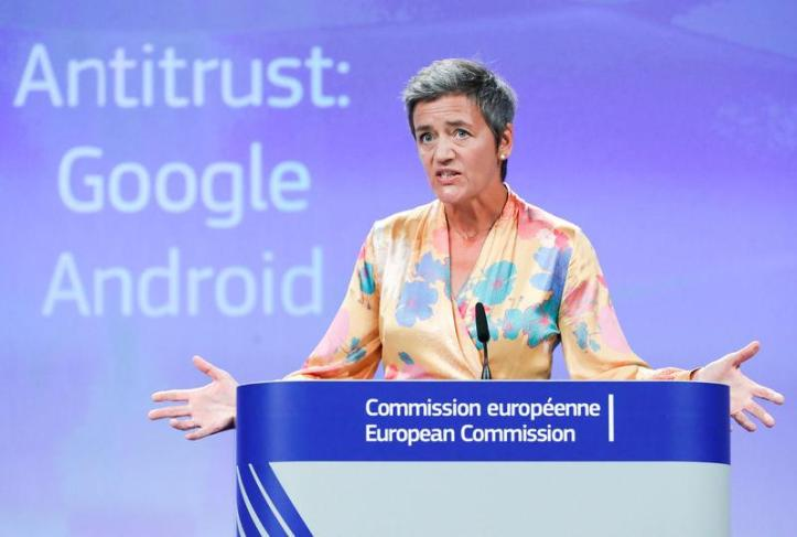 European Competition Commissioner Margrethe Vestager addresses a news conference on Google in Brussels