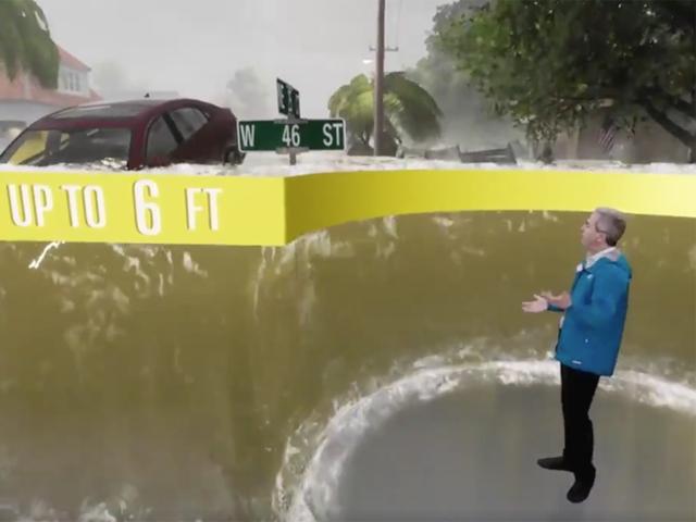 the weather channel uses ar visuals to show florence flooding