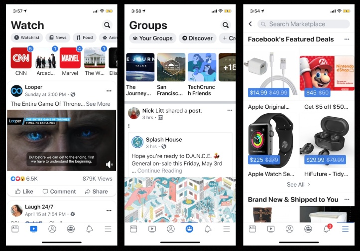 Facebook-Watch-Groups-Marketplace
