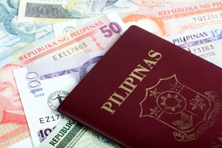 Philippine passport on peso
